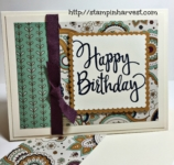 stylized birthday, stampin up, hand stamped cards, petals & paisleys Specialty designer series paper,