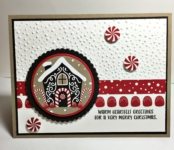 Candy Cane Lane designer series paper, holiday catalog, stampin up, softly falling embossing folder, gingerbread, layering circle framelits, 2 inch punch, hand crafted cards, Christmas, Candy Cane Lane Designer Washi Tape