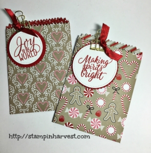 Candy Cane Lane DSP, Holiday Catalog, Stampin' Up!, Stitched Shapes Framelits, Mini Treat Bag Thinlits, Layering Circles Framelits, Gold Binder Clips